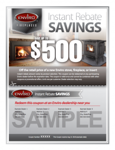 Sample Coupon to SAVE on Enviro at Hubert's Fireplace Consultation + Design