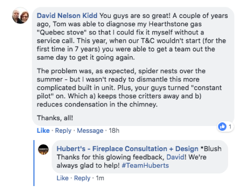 "alt=""Testimonial Hubert's Fireplace Consultation + Design"""